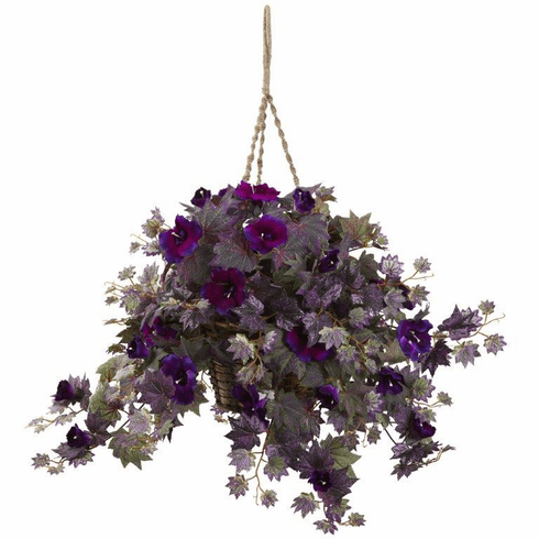 "18"" Artificial Morning Glory Hanging Bush in Basket"