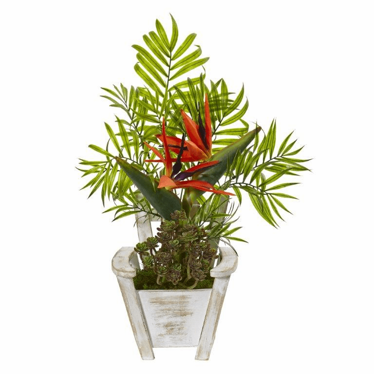 18� Bird of Paradise and Areca Palm Artificial Arrangement in Chair Planter