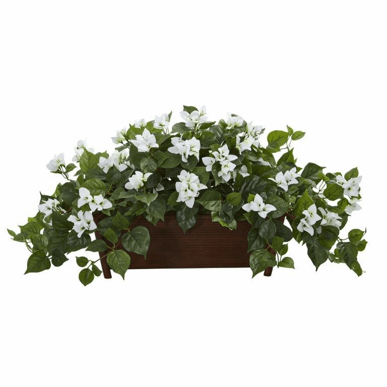 "18"" Bougainvillea Artificial Plant in Decorative Planter - White"
