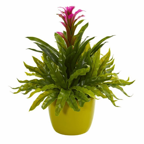 "18"" Bromeliad and Fern Artificial Plant in Green Vase - Purple"