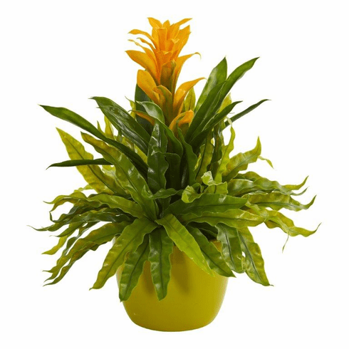 "18"" Bromeliad and Fern Artificial Plant in Green Vase - Yellow"