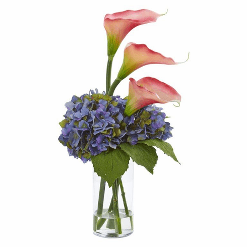 "18"" Calla Lily and Hydrangea Artificial Arrangement - Blue"