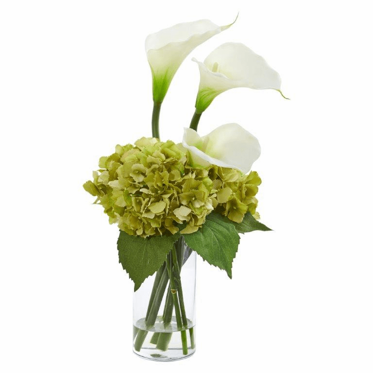 "18"" Calla Lily and Hydrangea Artificial Arrangement - Cream"