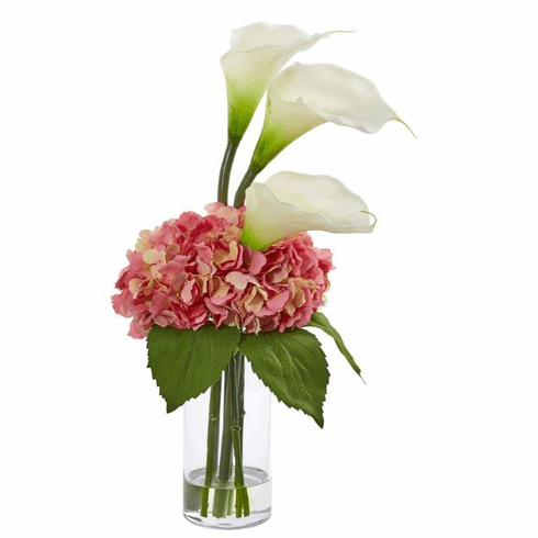 "18"" Calla Lily and Hydrangea Artificial Arrangement - Cream Pink"