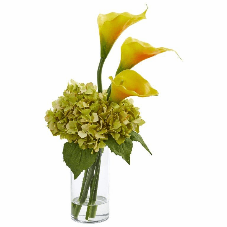 "18"" Calla Lily and Hydrangea Artificial Arrangement - Gold Yellow"