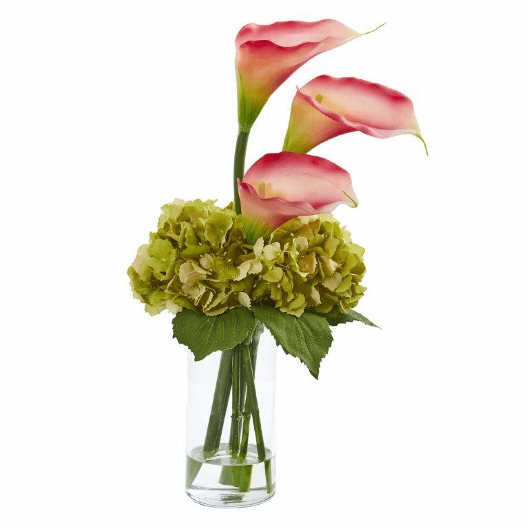 "18"" Calla Lily and Hydrangea Artificial Arrangement - Pink"