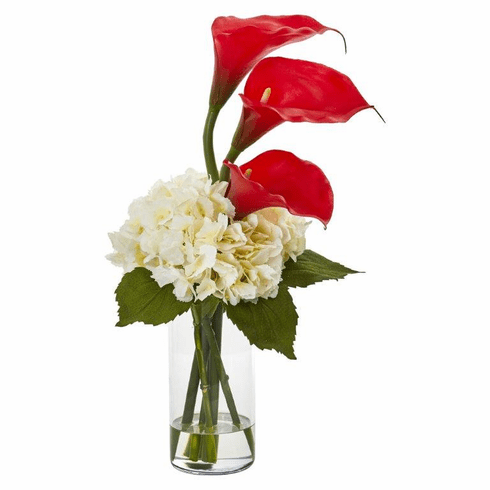 "18"" Calla Lily and Hydrangea Artificial Arrangement - Red"
