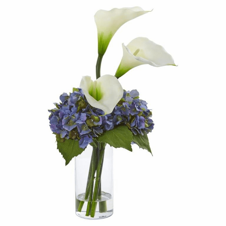 "18"" Calla Lily and Hydrangea Artificial Arrangement - White"