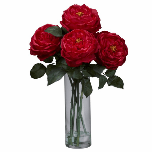 "18"" Fancy Rose with Cylinder Vase Silk Flower Arrangement - Red"