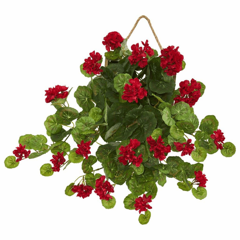 "18"" Geranium Artificial Plant in Decorative Hanging Frame"
