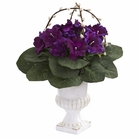 "18"" Gloxinia Artificial Plant in White Urn"