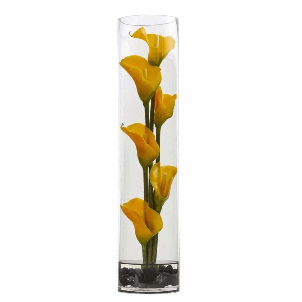 18� Mini Cally Lily Artificial Arrangement in Cylinder Glass