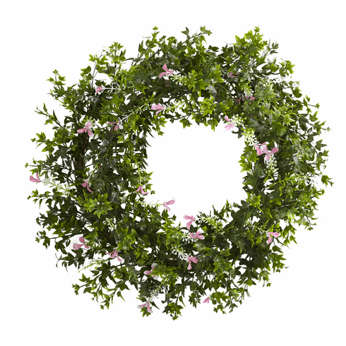"""18"""" Mini Ivy & Floral Double Ring Wreath w/Twig Base"""