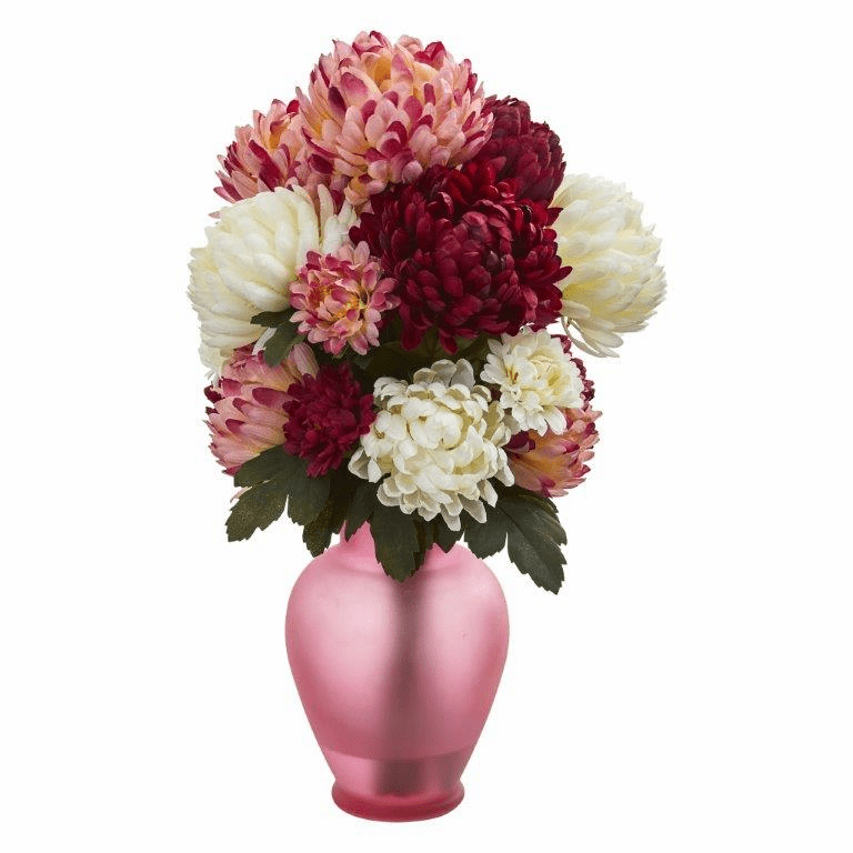 "18"" Mum Artificial Arrangement in Rose Colored Vase - Assorted"
