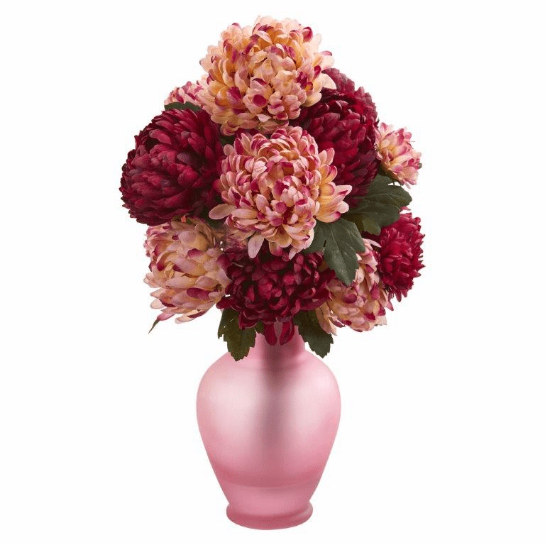 "18"" Mum Artificial Arrangement in Rose Colored Vase - Burgundy"
