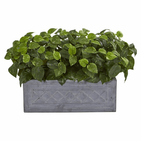 "18"" Pothos Artificial Plant in Stone Planter"