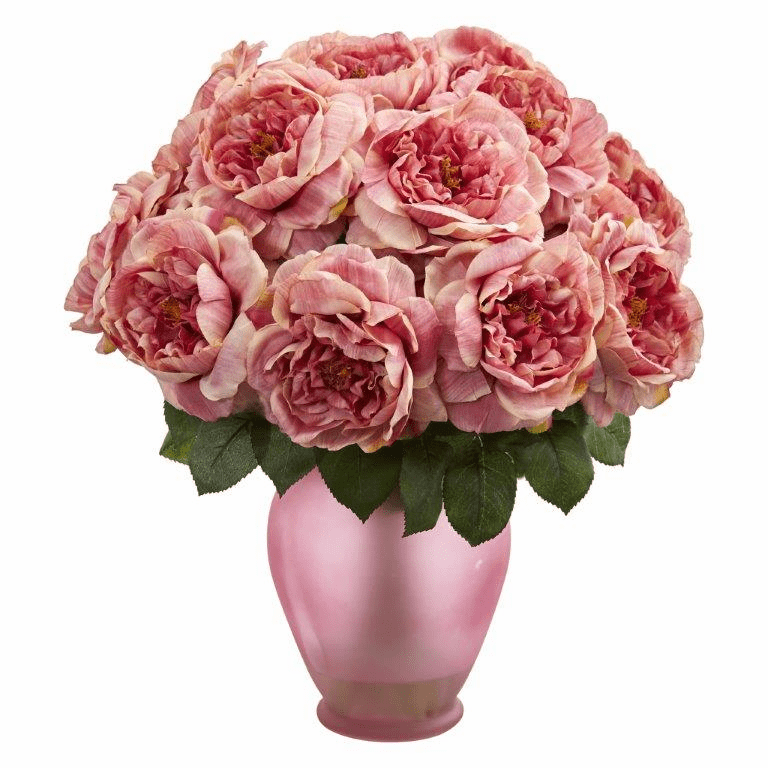 "18"" Rose Artificial Arrangement in Rose Colored Vase - Pink"