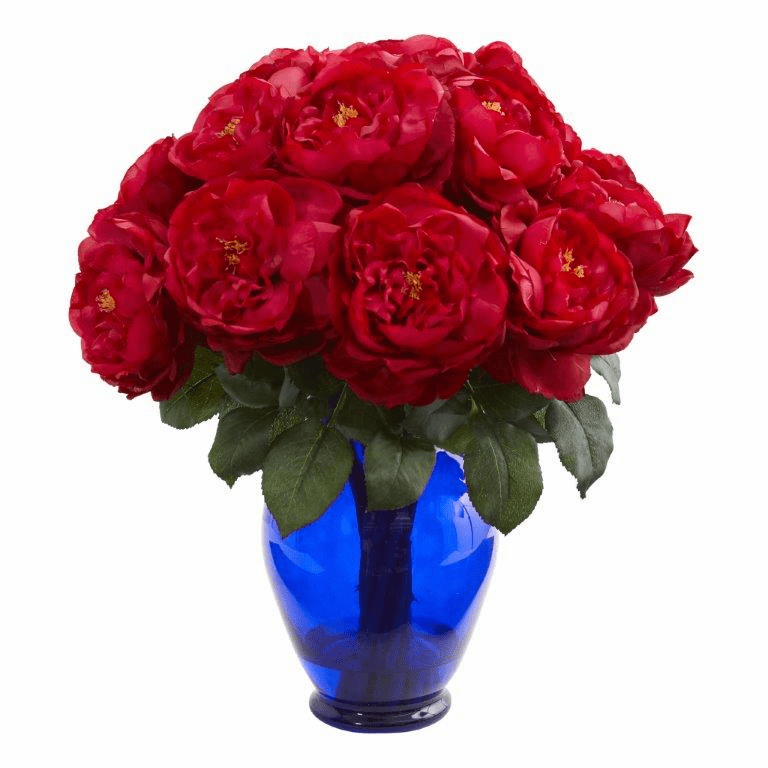 "18"" Rose Artificial Arrangement in Rose Colored Vase - Red"