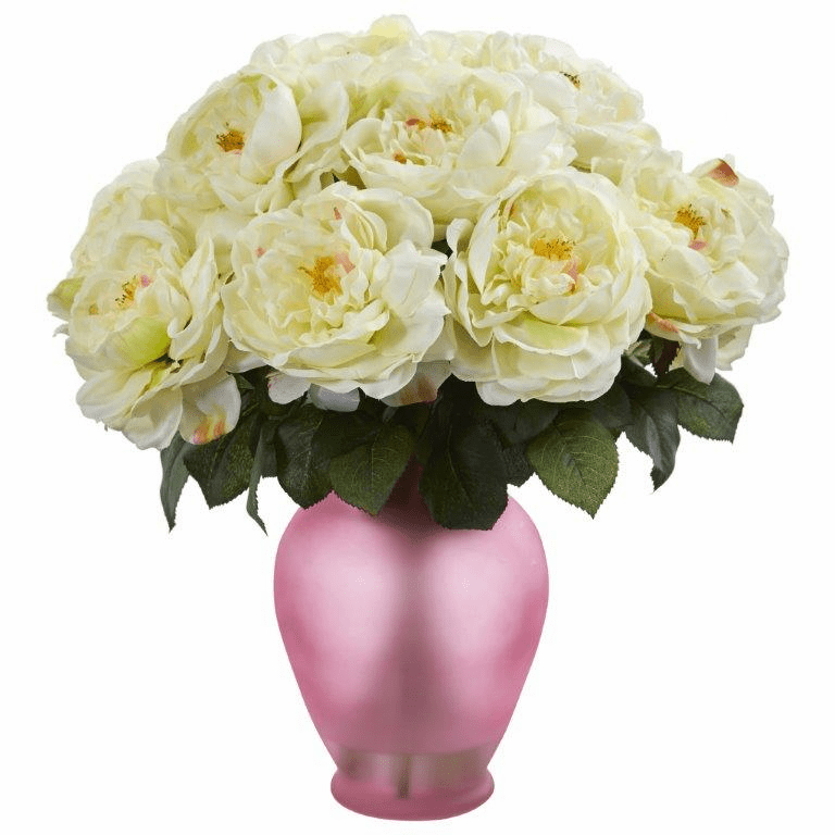 "18"" Rose Artificial Arrangement in Rose Colored Vase - White"