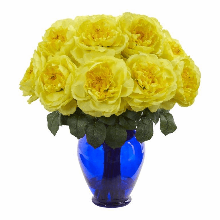 "18"" Rose Artificial Arrangement in Rose Colored Vase - Yellow"