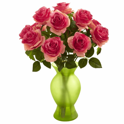 """18"""" Roses with Colored Glass Vase Artificial Flower Arrangement"""