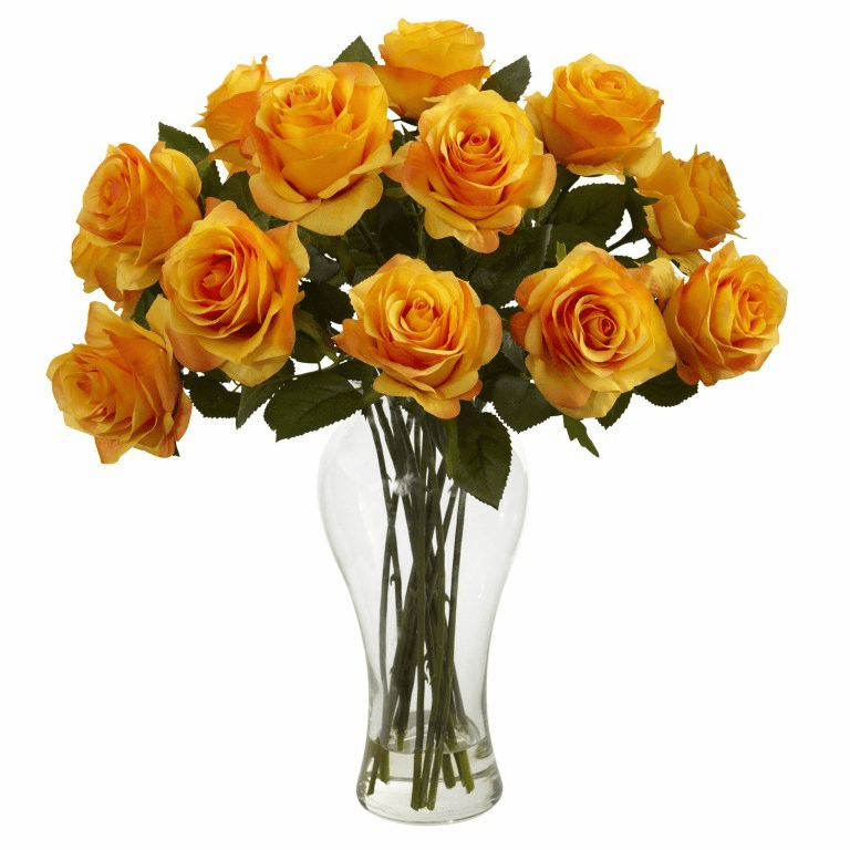 "18"" Silk Blooming Roses Arrangement in glass Vase - Orange/Yellow"