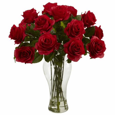 "18"" Silk Blooming Roses Arrangement in glass Vase - Red"
