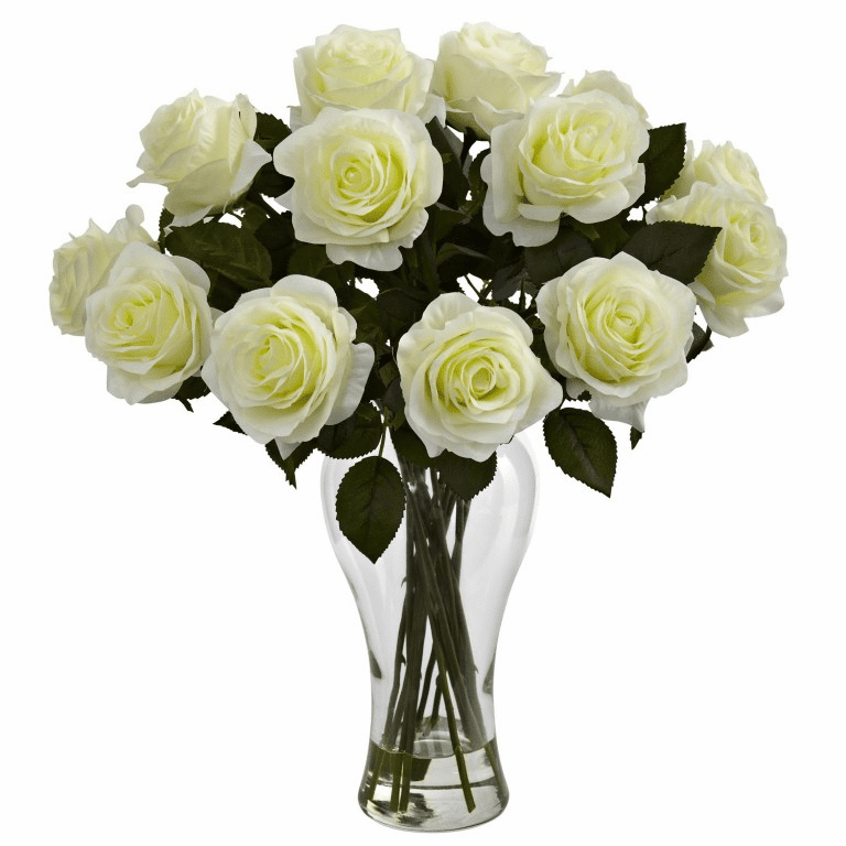 "18"" Silk Blooming Roses Arrangement in glass Vase - White"