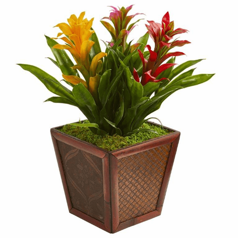 "18"" Triple Bromeliad Tropical Artificial Plant in Decorative Planter - Assorted"