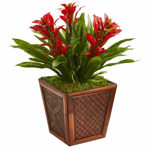 """18"""" Triple Bromeliad Tropical Artificial Plant in Decorative Planter - Red"""