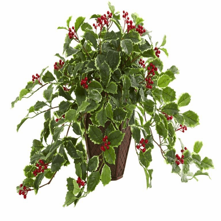 18� Variegated Holly Artificial Plant in Decorative Planter (Real Touch)