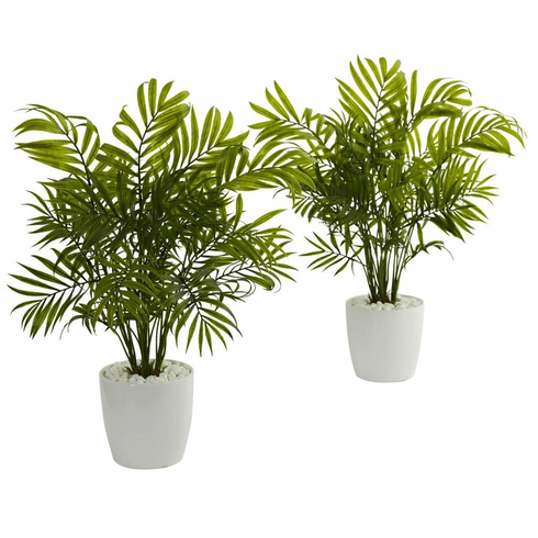 "19.5"" Palms in White Planter Artificial Plant (Set of 2)"