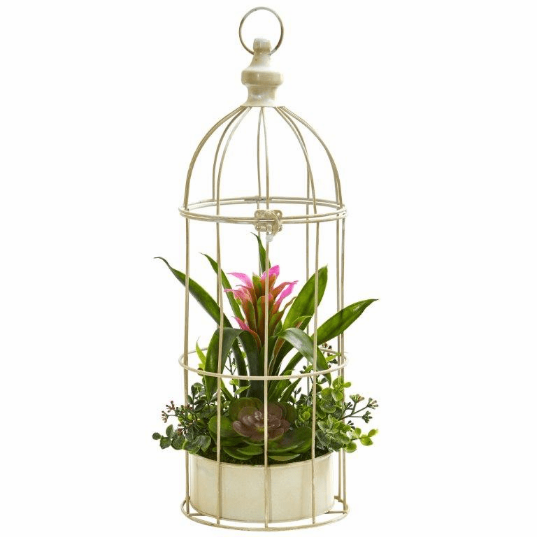19� Bromeliad & Succulent Artificial Arrangement in Bird Cage - Purple