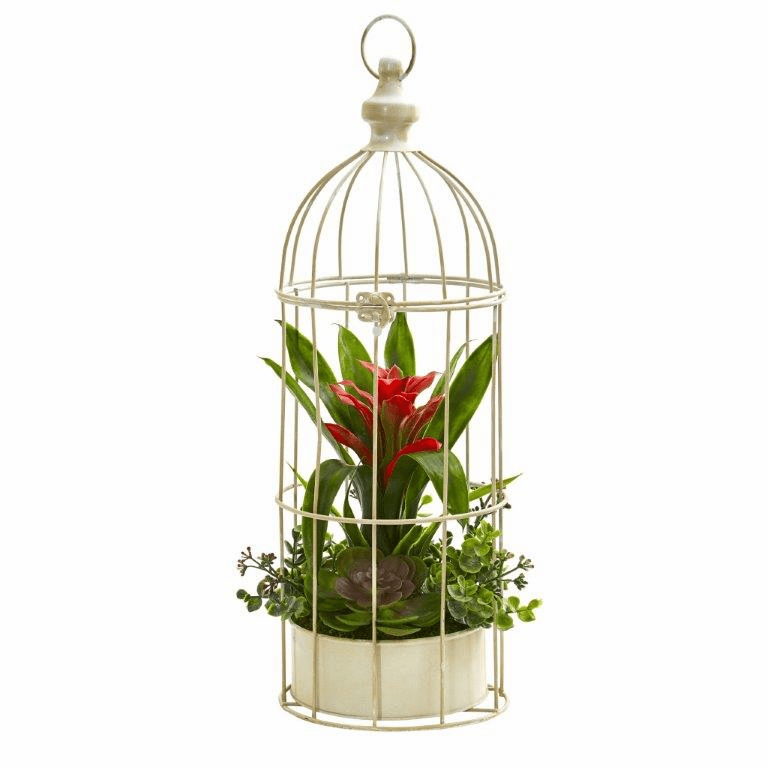 19� Bromeliad & Succulent Artificial Arrangement in Bird Cage - Red