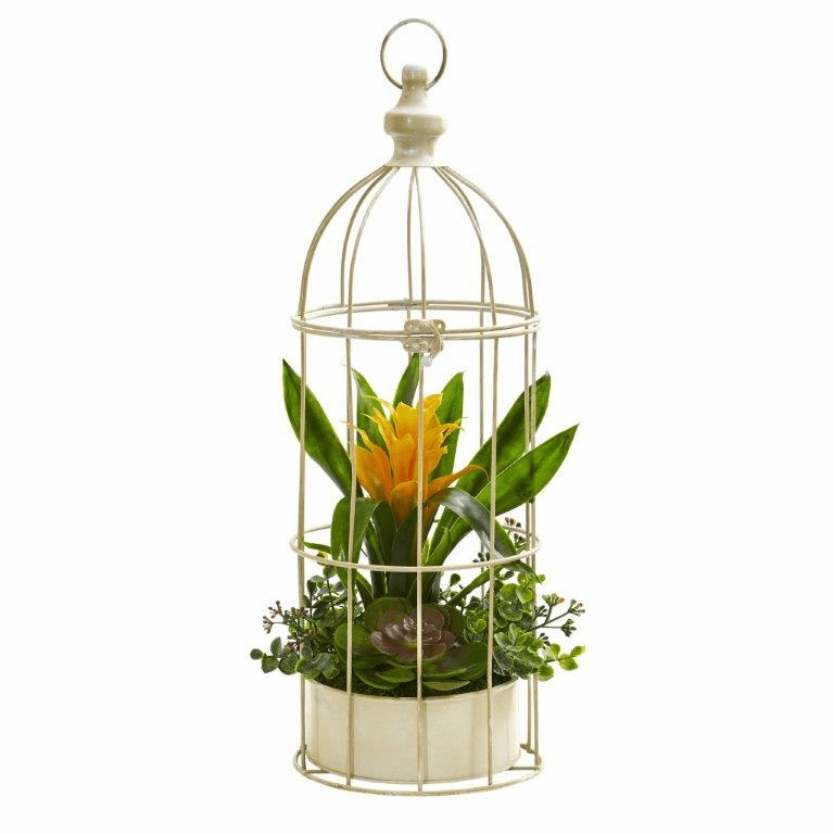19� Bromeliad & Succulent Artificial Arrangement in Bird Cage - Yellow