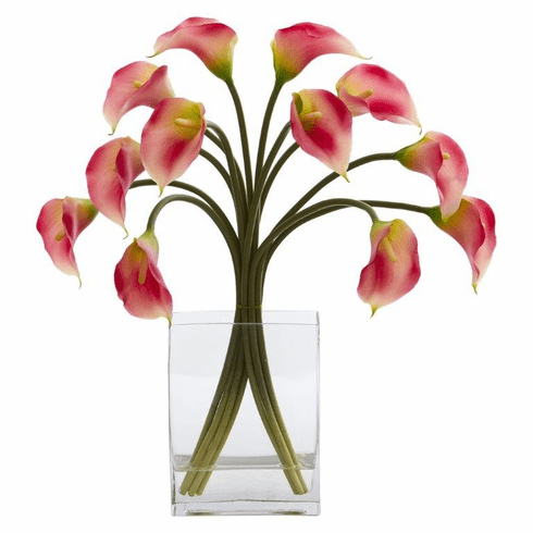 "19"" Calla Lily Artificial Arrangement in Vase - Pink"