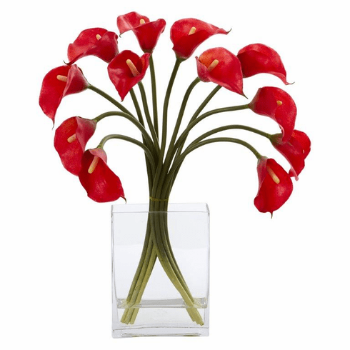"19"" Calla Lily Artificial Arrangement in Vase - Red"