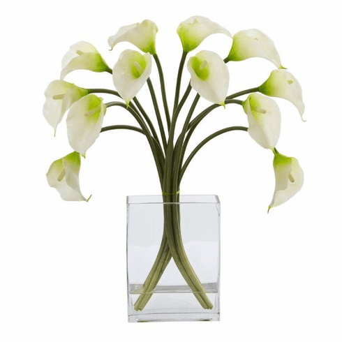 "19"" Calla Lily Artificial Arrangement in Vase - White"