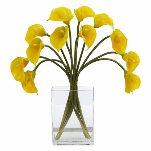 "19"" Calla Lily Artificial Arrangement in Vase - Yellow"