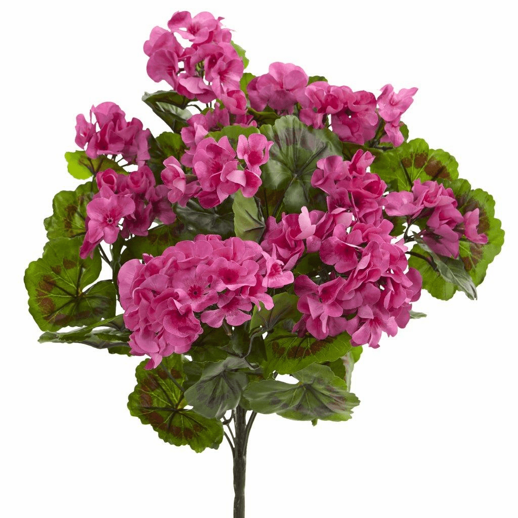"19"" Geranium Artificial Bush UV Resistant (Set of 3)"