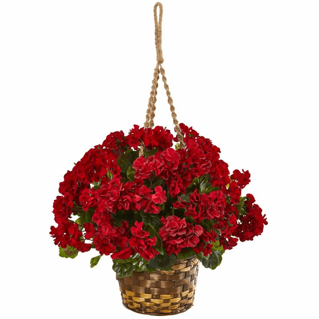 19� Geranium Hanging Basket Artificial Plant UV Resistant (Indoor/Outdoor)