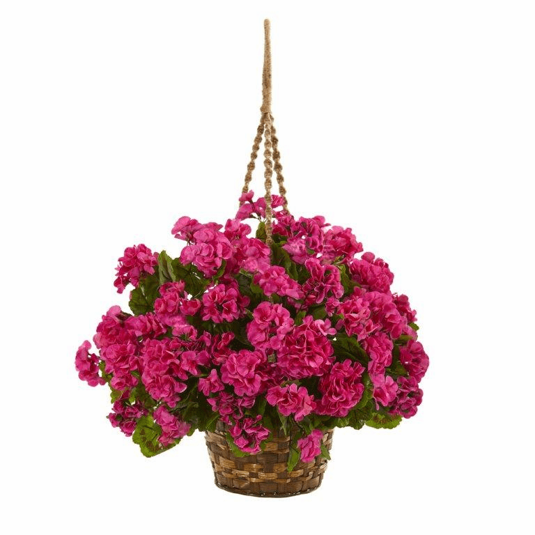 "19"" Geranium Hanging Basket Artificial Plant UV Resistant (Indoor/Outdoor) - Beauty"