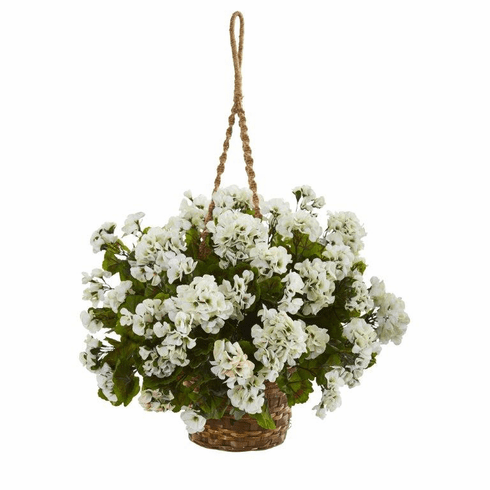 "19"" Geranium Hanging Basket Artificial Plant UV Resistant (Indoor/Outdoor) - White"