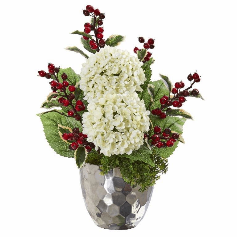 19� Hydrangea and Holly Berry Artificial Arrangement in Silver Bowl  -
