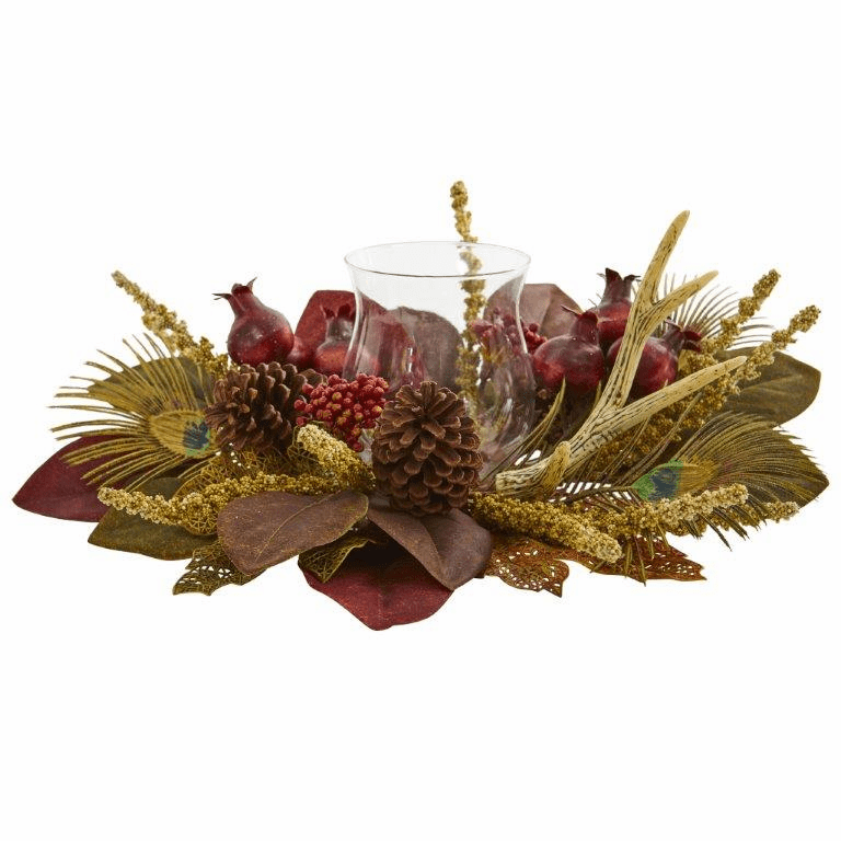 "19"" Magnolia, Berry, Antler and Peacock Feather Artificial Candelabrum Arrangement"