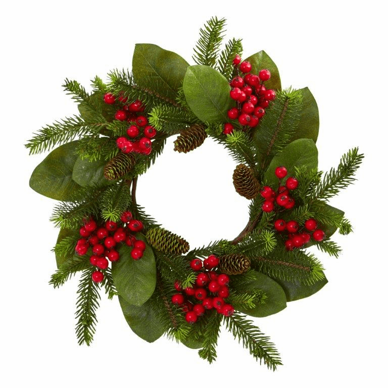 19� Magnolia Leaf, Berry and Pine Artificial Wreath