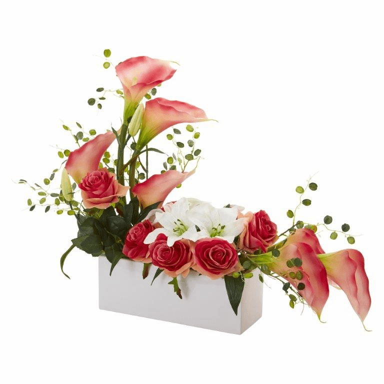 "19"" Mixed Lily and Rose Artificial Arrangement - Pink"