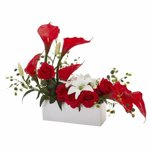 "19"" Mixed Lily and Rose Artificial Arrangement - Red"