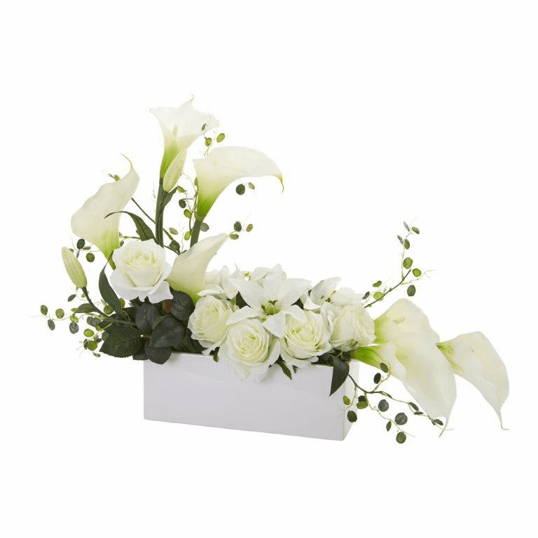 "19"" Mixed Lily and Rose Artificial Arrangement - White"