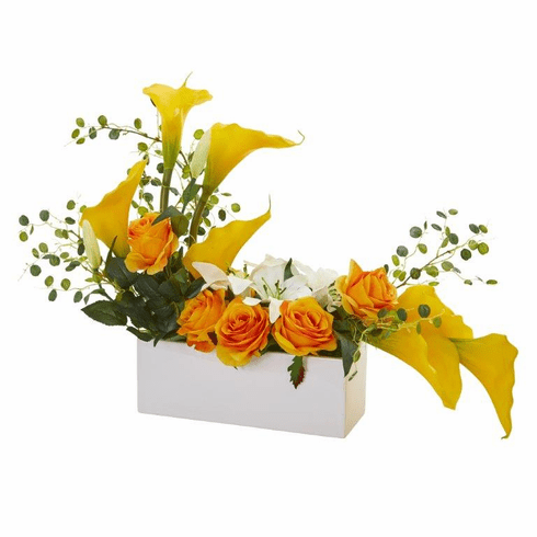 """19"""" Mixed Lily and Rose Artificial Arrangement - Yellow"""
